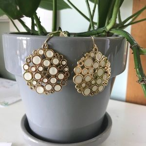 {Premiere Design} Gold white enamel earrings